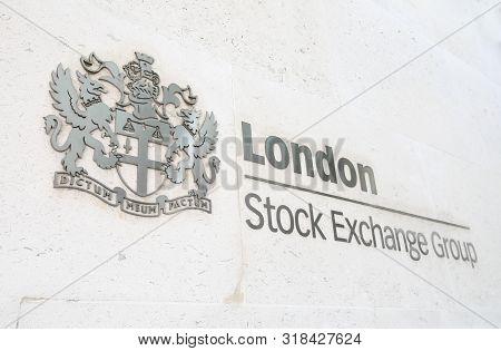 London England - June 2, 2019: London Stock Exchange Sign London Uk