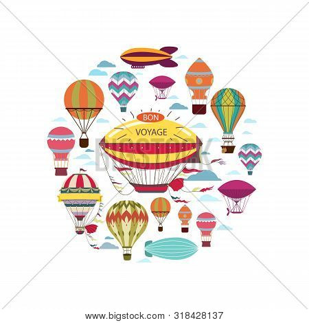 Flat Air Travel Round Concept With Hot Air Balloons Airships And Dirigibles Isolated Vector Illustra