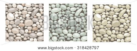 Set Of Seamless Patterns. Texture With Stones, Cobble, Rocks To Create Landscape Scenes Background,