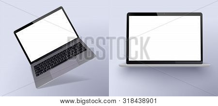 Set Mock-up Of Realistic Laptop. 3d Isometric Illustration Laptop . Perspective View Devices. Mockup