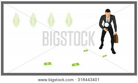 Illustration Of A Businessman Carrying Bags And Loops. Identify Traces Of Money. Eps10 Vector File