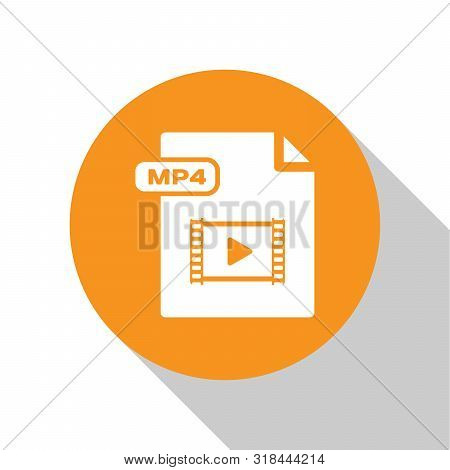 White Mp4 File Document. Download Mp4 Button Icon Isolated On White Background. Mp4 File Symbol. Ora