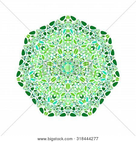 Ornate Isolated Flower Heptagon Symbol - Colorful Ornamental Vector Element