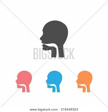 Oral Cavity, Pharynx And Esophagus Glyph Icon Set. Upper Section Of Alimentary Canal. Silhouette Sym