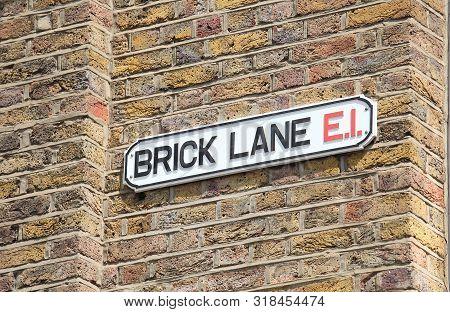 Brick Lane Street Sign In London Uk