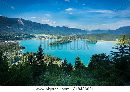 View Of Lake Faaker See In Kärnten Carinthia, Austria