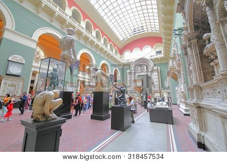 London England - June 2, 2019: Unidentified People Visit Victoria Albert Museum London Uk
