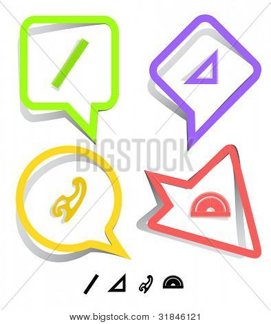 Education icon set. French curve, ruler, triangle ruler, protractor. Paper stickers. Vector illustration.