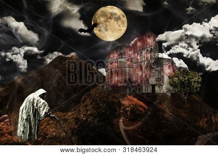 Halloween Concept. Castle Ruin On Hill, Tree, Moon, Bat, Old Witch Or Specter And Dramatic Sky.a Gho