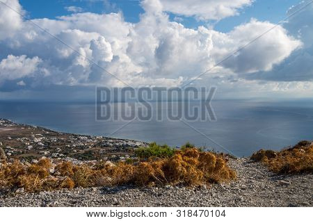 Santorini And Aegean Sea Landscape View From Ancient City Of Thira