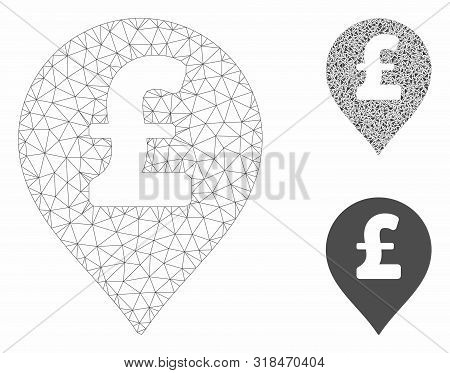 Mesh Pound Sterling Marker Model With Triangle Mosaic Icon. Wire Frame Polygonal Mesh Of Pound Sterl