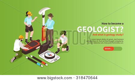 Isometric Geology Horizontal Banner With Editable Text Slider Button And Human Characters Of Geologi