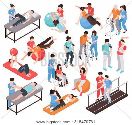 Isometric Rehabilitation Physiotherapy People Set Of Isolated Faceless Characters Of Doctors And Pat
