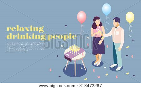 Relaxing And Drinking People At Party Isometric Poster With Catering Symbols Vector Illustration