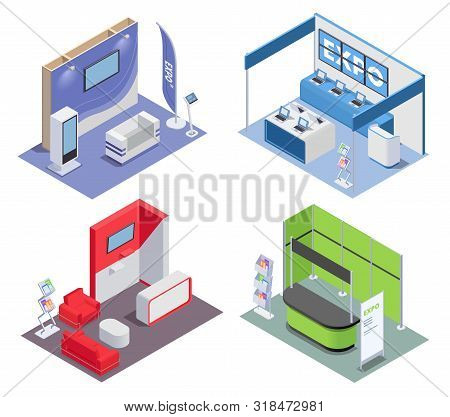 Isometric 2x2 Design Concept With Empty Expo Stands In Rooms For Exhibition And Promotion 3d Isolate