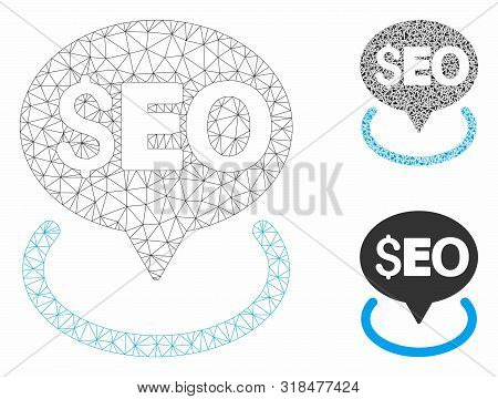 Mesh Seo Geotargeting Model With Triangle Mosaic Icon. Wire Frame Polygonal Mesh Of Seo Geotargeting