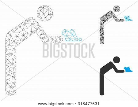 Mesh Servant Person Model With Triangle Mosaic Icon. Wire Carcass Triangular Mesh Of Servant Person.