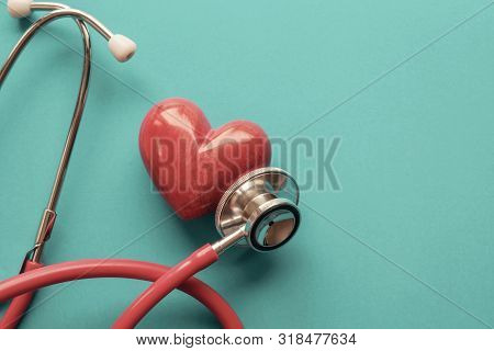 Red Heart With Stethoscope, Heart Health,  Health Insurance Concept, World Heart Day, World Health D