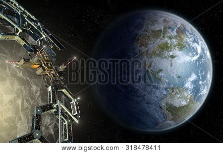 Alien Mega Structure Approaching Earth, As A Honeycomb Geodesic Structure Surrounding A Central Exot