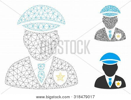Mesh Sheriff Model With Triangle Mosaic Icon. Wire Frame Triangular Network Of Sheriff. Vector Mosai