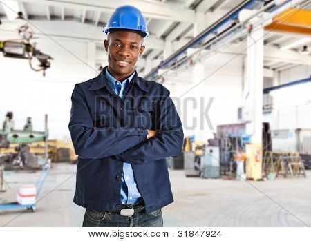 Portrait of an handsome black engineer