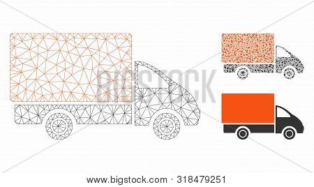 Mesh Shipment Car Model With Triangle Mosaic Icon. Wire Frame Polygonal Mesh Of Shipment Car. Vector