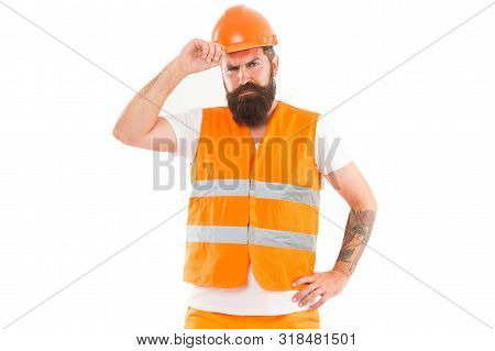 Creating Solid Foundation. Man Protective Hard Hat And Uniform White Background. Worker Builder Conf