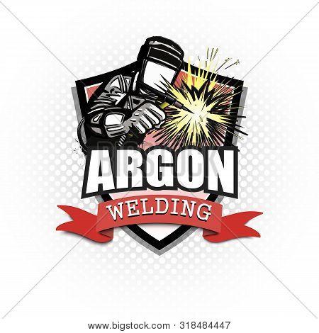 Logo Welder In A Mask Performing Argon Welding Of The Metal. Argon Welding Logo Template Design. Iso