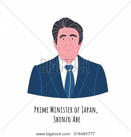 Shinzo Abe Hand Drawn Vector Portrait Illustration. Japan Prime Minister. Politician In Suit And Tie