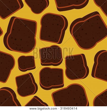 Burnt Bread Pattern Seamless. Spoiled Toasted Toast Background. Food Vector Texture