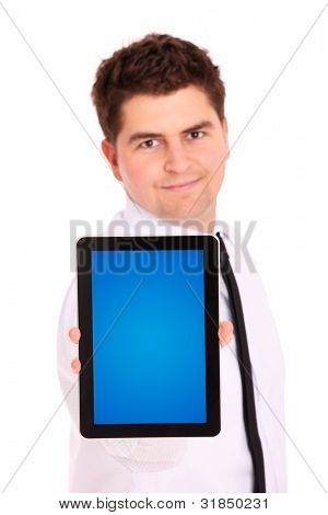 A picture of a young businessman with his tablet computer over white background, focus on tablet
