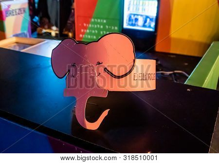 Nahariyya, Israel, August 22, 2019 : Headdress With Delirium Beer Emblem In The Form Of An Elephant