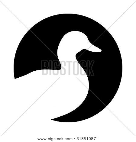 Duck Graphic Icon. Duck  Silhouette In The Circle Isolated On White Background. Logo. Vector Illustr