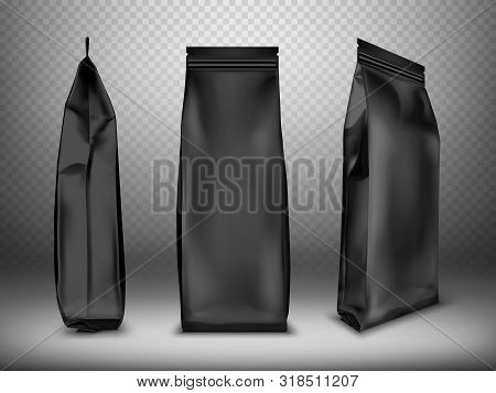 Black Blank Plastic Or Foil Pack Realistic Vector. Bag Or Pouch For Snacks, Sweets And Coffee, Front