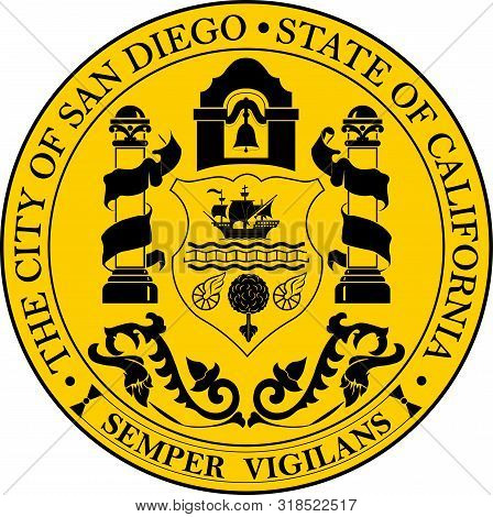 Coat Of Arms Of San Diego City, California, Usa