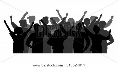 Black Silhouette Cheerful Crowd People. Group Of People Men And Women. Party Celebrating, Concert, A