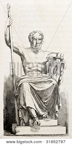 Homer statue, old illustration. After sculpture of Chevalier, published on L'Illustration, Journal Universel, Paris, 1863