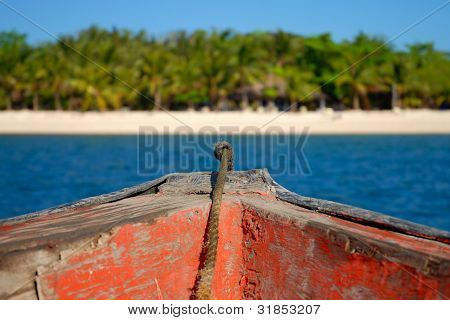 Ferry boat ride from Sablayan, Mindoro in the Philippines, through the Mindoro strait to the beautiful, tranquil remote beach of North Pandan island, which is also in the Philippines. Taken 27/12/2006. poster