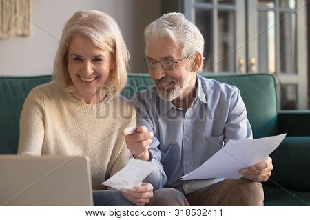 Happy Old Couple Paying Domestic Bills Online Using Computer App