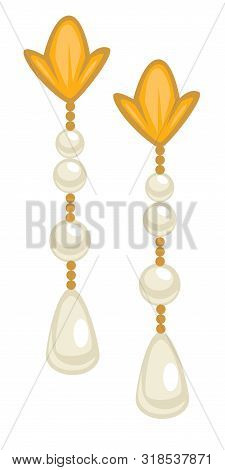 1950s Style Earrings, Female Accessory With Gold And Pearls