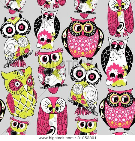 Stock Vector Illustration: Seamless and colourful owl pattern.