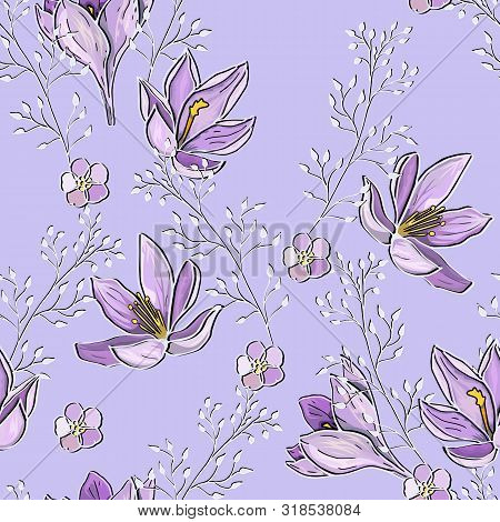 Lilac Mauve Seamless Pattern With Flowers And Twigs. Tender Delicate Vector Endless Texture