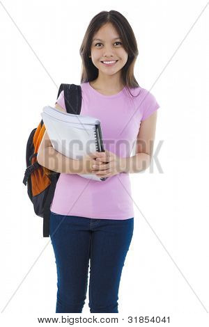 Mixed race Asian student with books