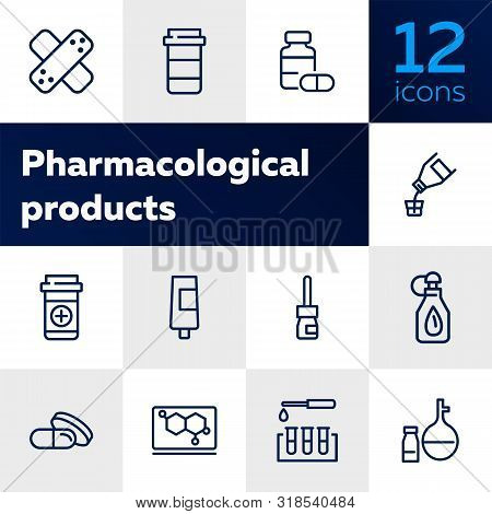 Pharmacological Products Icon Set. Drugstore Concept. Vector Illustration Can Be Used For Topics Lik