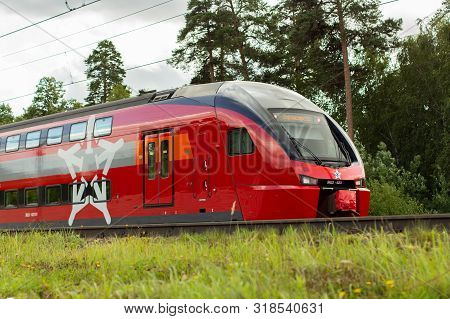 04-08-2019, Russia, Vidnoye. Red Express Train To The Airport. Russian Railways, Two-story Aeroexpre