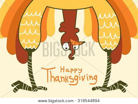 Thanksgiving Turkey For Happy Thanksgiving Day. Vector Color Funny Symbol Illustration