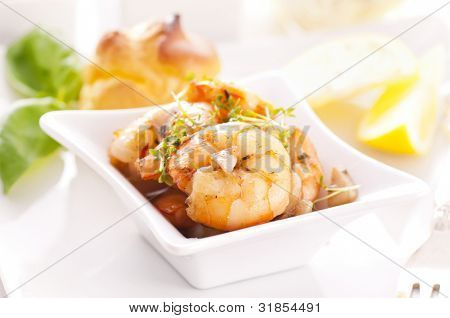 Tapas with fried prawns poster