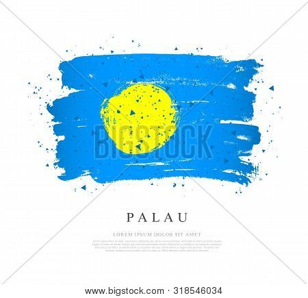 Flag of Palau. Vector illustration on a white background. Brush strokes are drawn by hand. Independence Day. poster