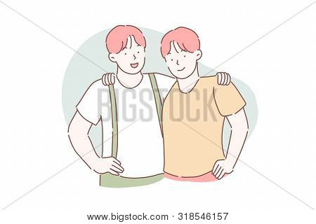 Brotherhood, Friendship, Partnership Concept. Two Twin Brothers Embrace Each Other. Guys Are Friends