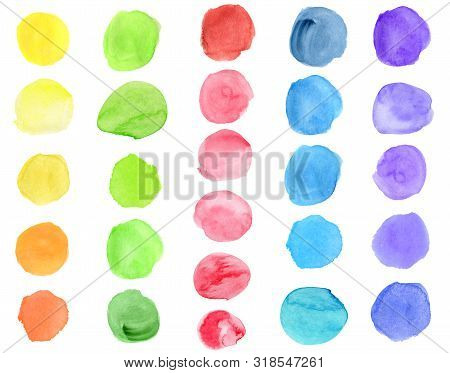 Watercolor Yellow, Green, Blue, Red, Purple Brush Strokes And Dots Set. Hand Drawn Colorful Aquarell